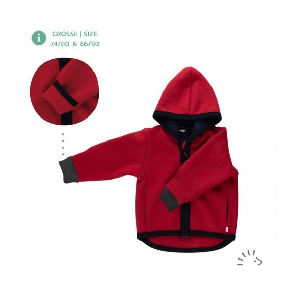 Jacheta din lana merinos organica cu fermoar si buzunare - tumble/boiled wool - Iobio - Milo Ruby